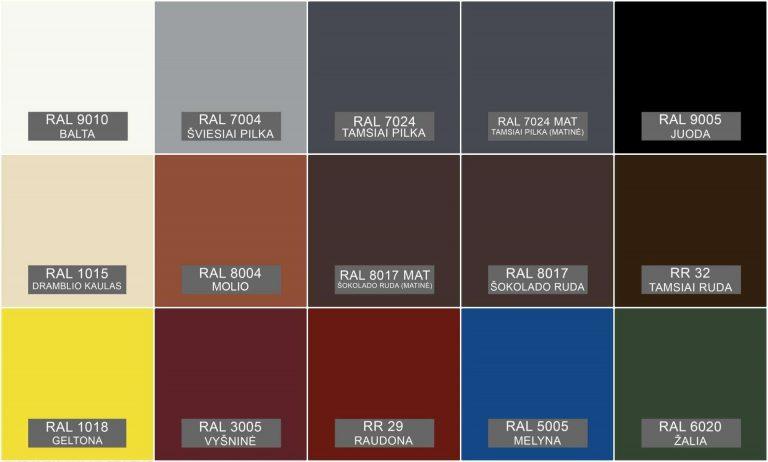 Vecto LT plieniniu dailylenčiu spalvos pagal RAL